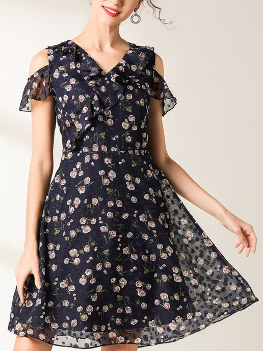 Neriah Blue Floral Off Shoulder Dress