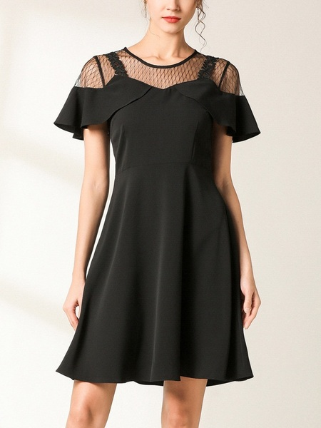 Nerida Mesh Off Shoulder Swing Dress