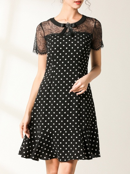 Nerilla Brooch Eyelash Lace Polka Dots Dress