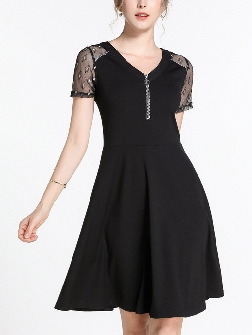 Nerine Lace Zipper Swing Dress