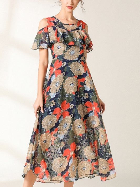 Nerys Japanese Origami Floral Midi Dress