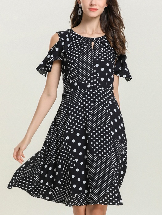 Nessa Polka Dots Off Shoulder Chiffon Dress