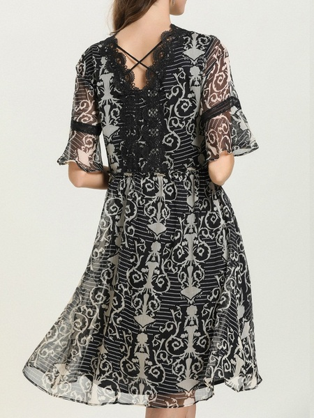 Nesta Lace Printed Dress
