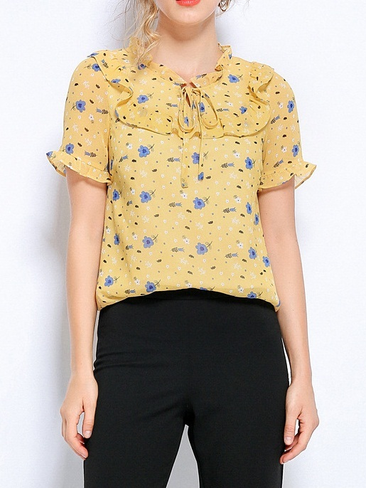Nevaeh Yellow Floral Chiffon S/S Blouse