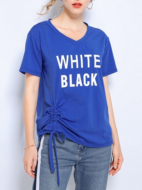 Nevara White Black Side Scrunch Tee