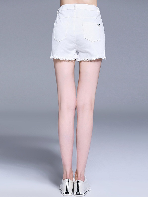 Niharika White Blue Words Embroidery Shorts