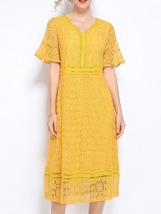 Nicole Yellow Lace Bell Sleeve Midi Dress