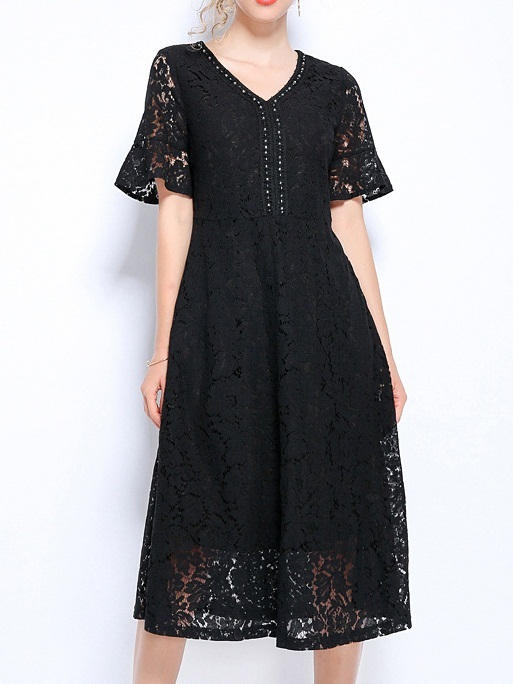 Nicola Beaded V-Neck Lace Midi Dress