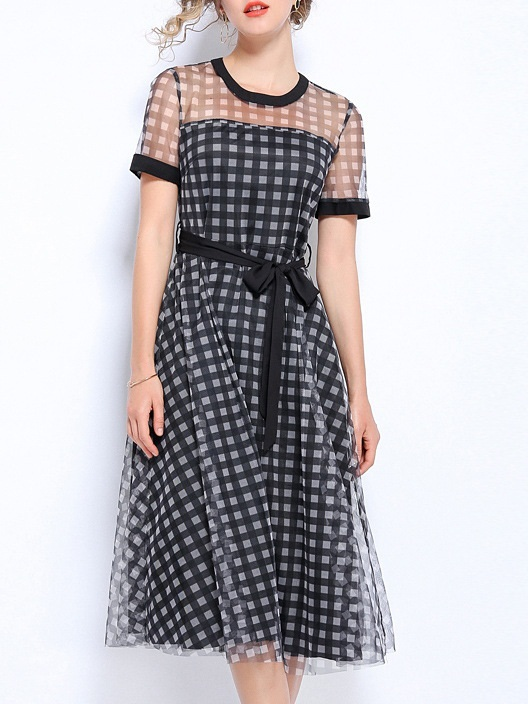 Nico Hex Mesh Swing Midi Dress