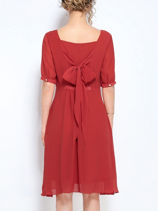 Nicasia Red Back Ribbon Tie Dress