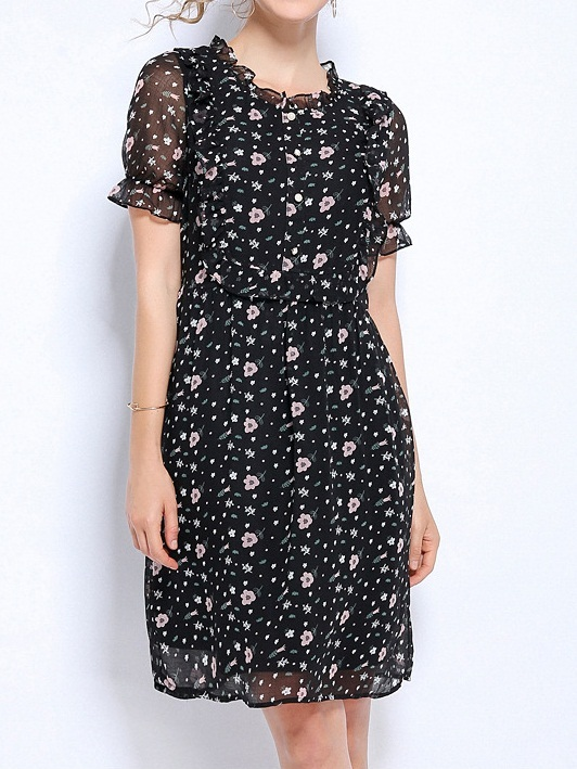 Nica Floral Button Chiffon Dress