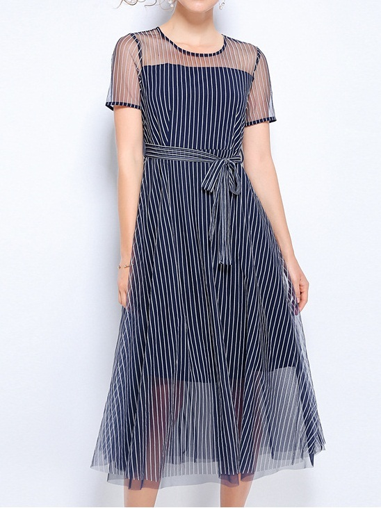 Niabi Stripe Organza Midi Dress