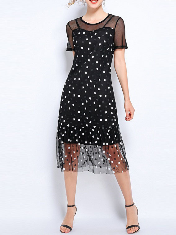 Ngaire Geometric Mesh Sweetheart Tulle Midi Dress