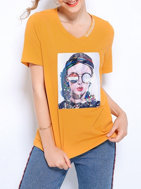 Newlyn Girl Embroidery V-Neck Tee