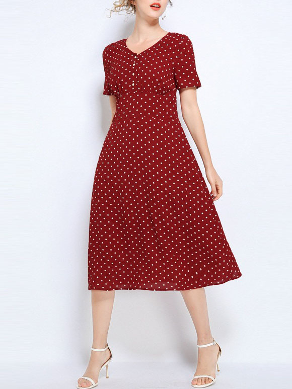 Neviah Mesh Polka Dots Swing Midi Dress