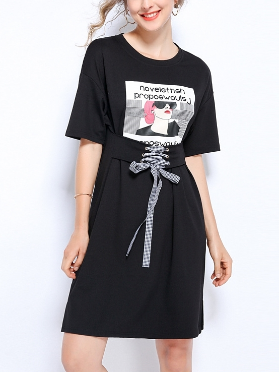 Graphic Waist Tie Tee Dress