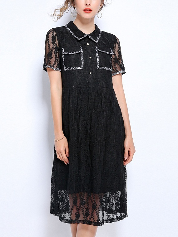 Nora Tweed Lined Lace Shirt Dress