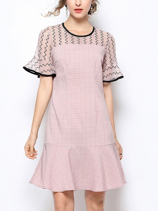Nyree Lace Layer Bell Sleeve Frill Dress
