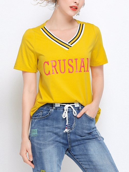 Lella Yellow V Neck Tee
