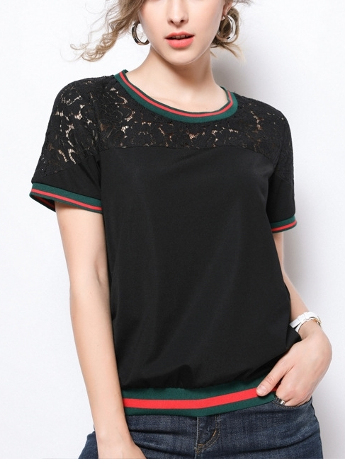 Green-red Lace Stripe Top