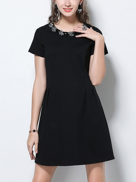 Gem Round Collar Dress