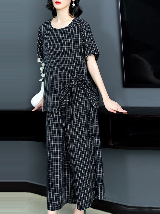 Oceana Silk Cupro Checks Side Gather Blouse and Wide Leg Culotte Pants Set