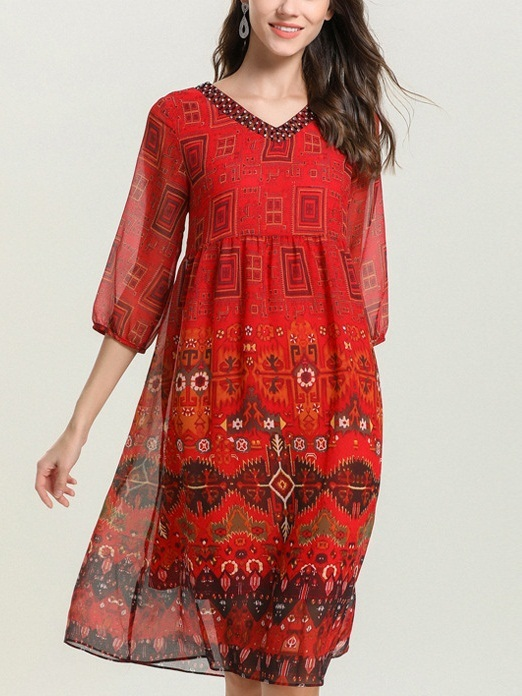 Octaviana Bohemian V Neck Beaded Red Dress