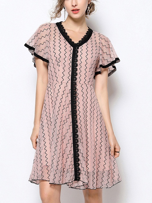 Oda Flutter Sleeve V Neck Lace Pink Dress