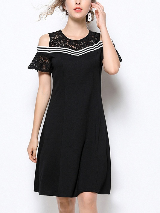 Odalys Lace Stripe Off Shoulder Dress