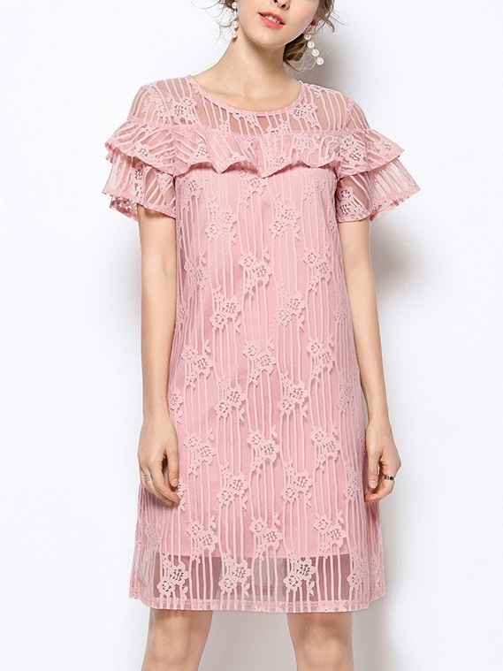 Odalyz Off-shoulder Pink Frill Lace Dress