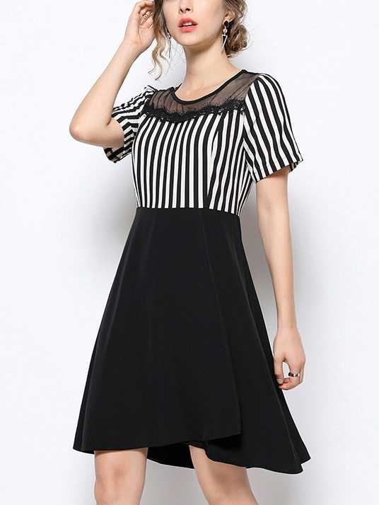Oddbjørg Stripe Block Swing Dress
