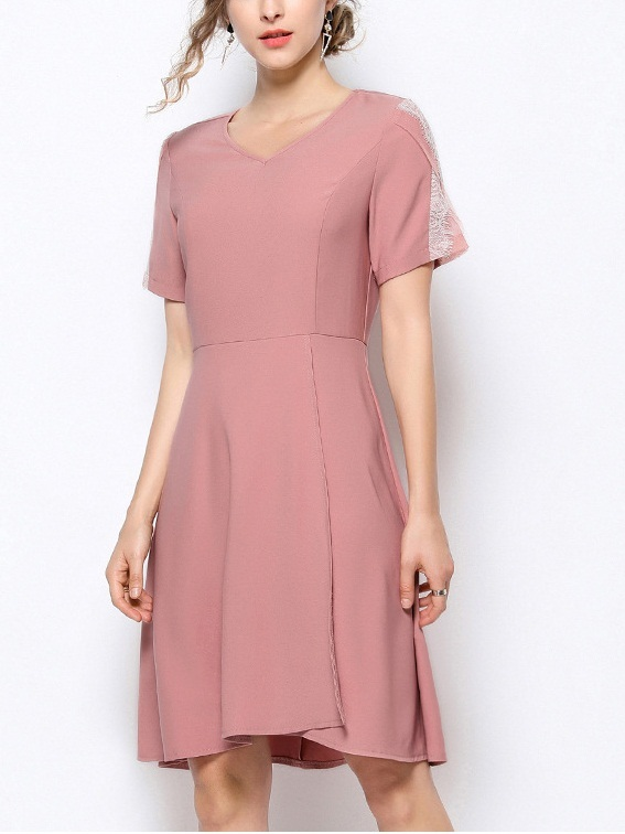 Oddlaug Pink Panel Lace Sleeve Dress