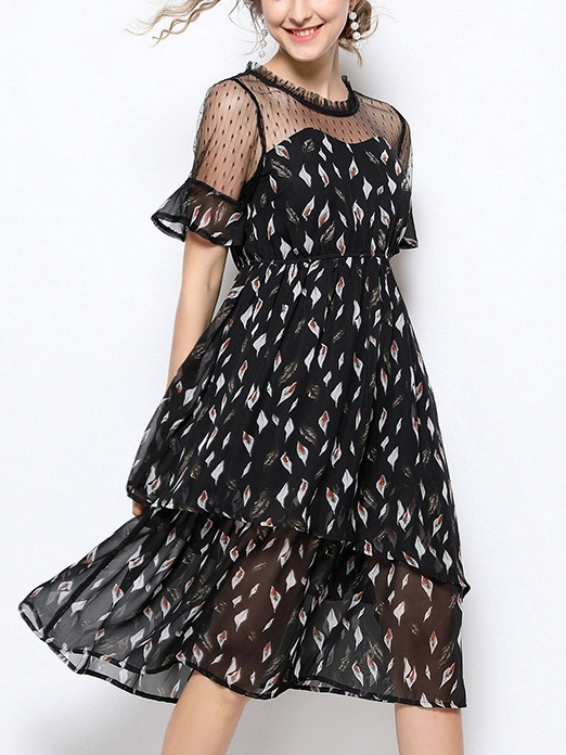 Oddny Leafs Mesh Sweetheart Dress