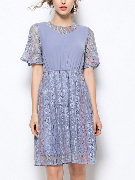 Oddrun Layer Blue Lace Dress