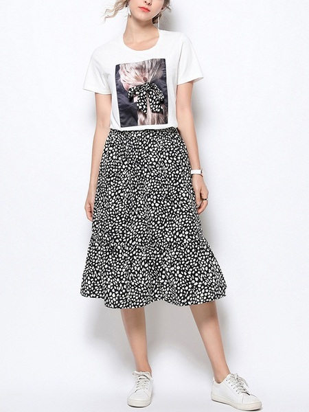 Odessa Leopard Print Tee and Skirt Set