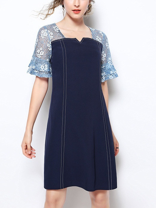 Odetta V Neck Blue Lace Sleeve Dress