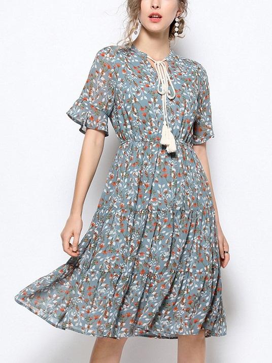 Odette Tassel Tie Tier Blue Print Dress