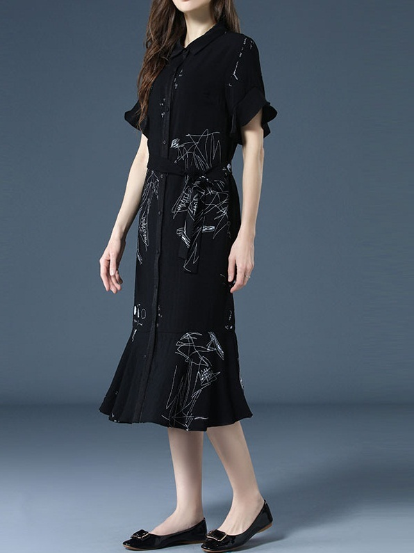 Odile Art Frill Midi Shirt Dress