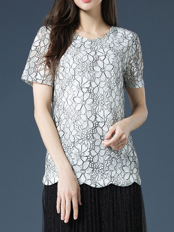 (SPECIAL PRICE) Odilia Scallop Hem White Lace Blouse