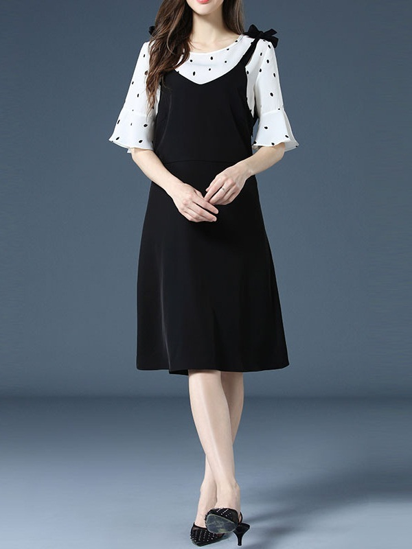 Oneta Dots Blouse and Ribbon Dress Set