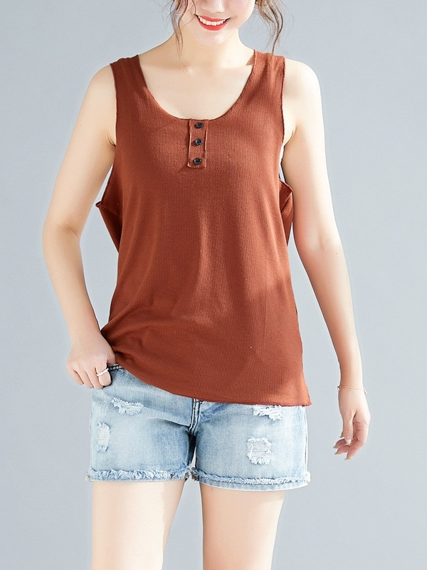 Osha Stretch Button Henley Tank Top (EXTRA BIG SIZE)