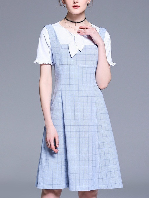 Olie Blue Checks Square Neck Pinafore Dress