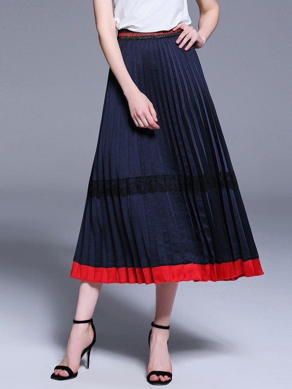 Olia Sheen Pleat Red and Blue Midi Skirt