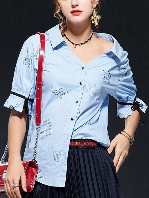 Olga Script Blue Off Shoulder Shirt Blouse
