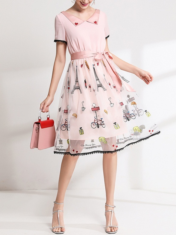 Olamide Love Embroidery Organza Midi Dress