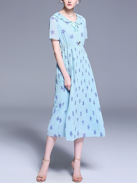 Olalla Collar Blue Stars Ribbon Pleat Midi Dress