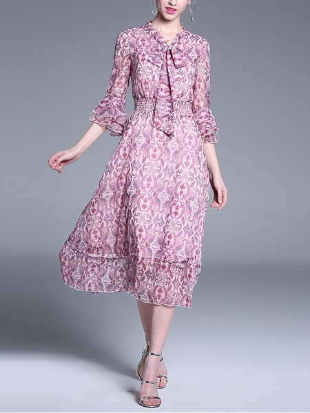 Olaia Pink Pattern Pussybow Midi Dress