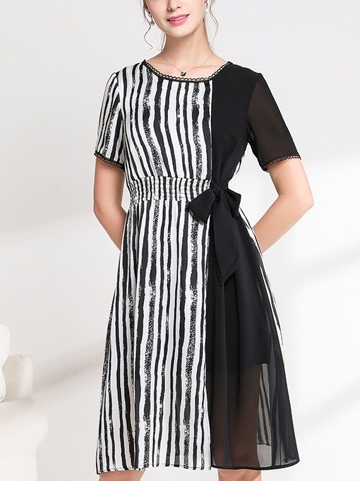 Oksana Stripe Panel Bow Midi Dress
