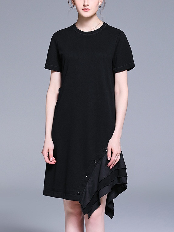 Oki Button Frill Panel Dress