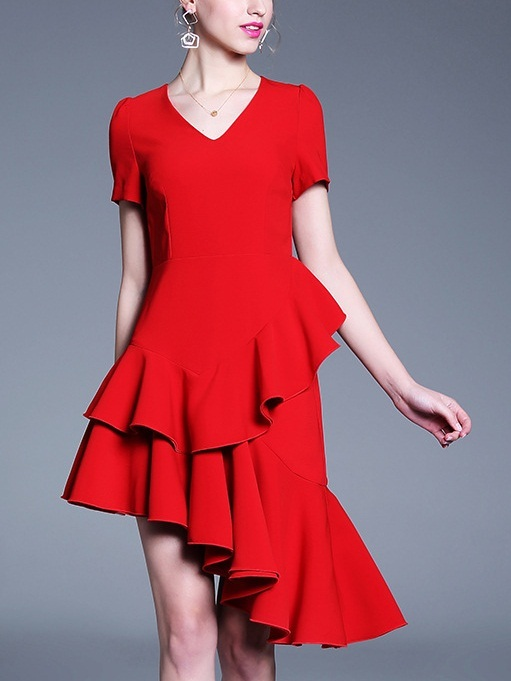 Okera Red Frill Asymmetry Dress